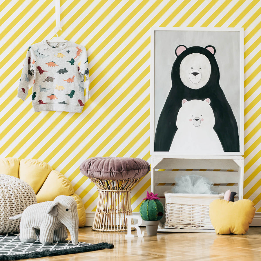 Yellow stripes kids room wallpaper