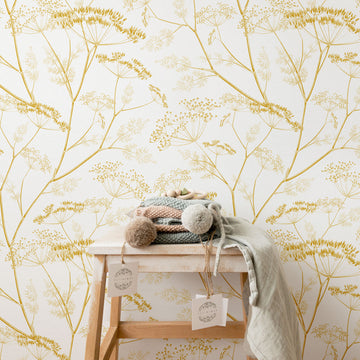 Golden yellow botanical wildflower nursery removable wallpaper