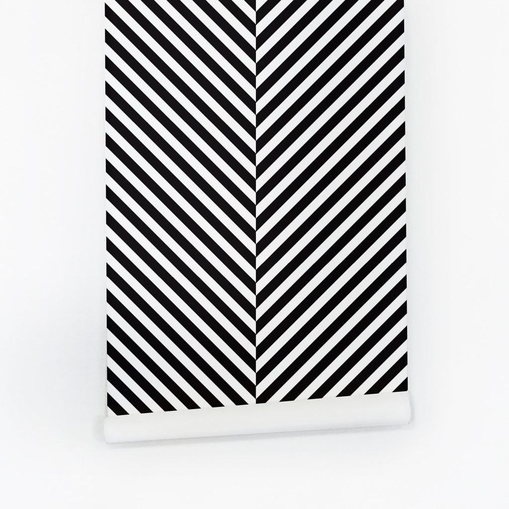Black and white geometrical lines peel and stick wallpaper