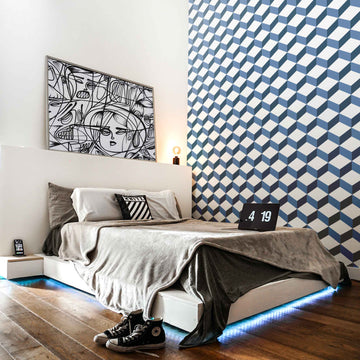Blue cube design removable wallpaper