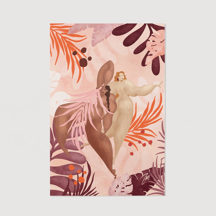 Nude wall art with pink tropical vibes