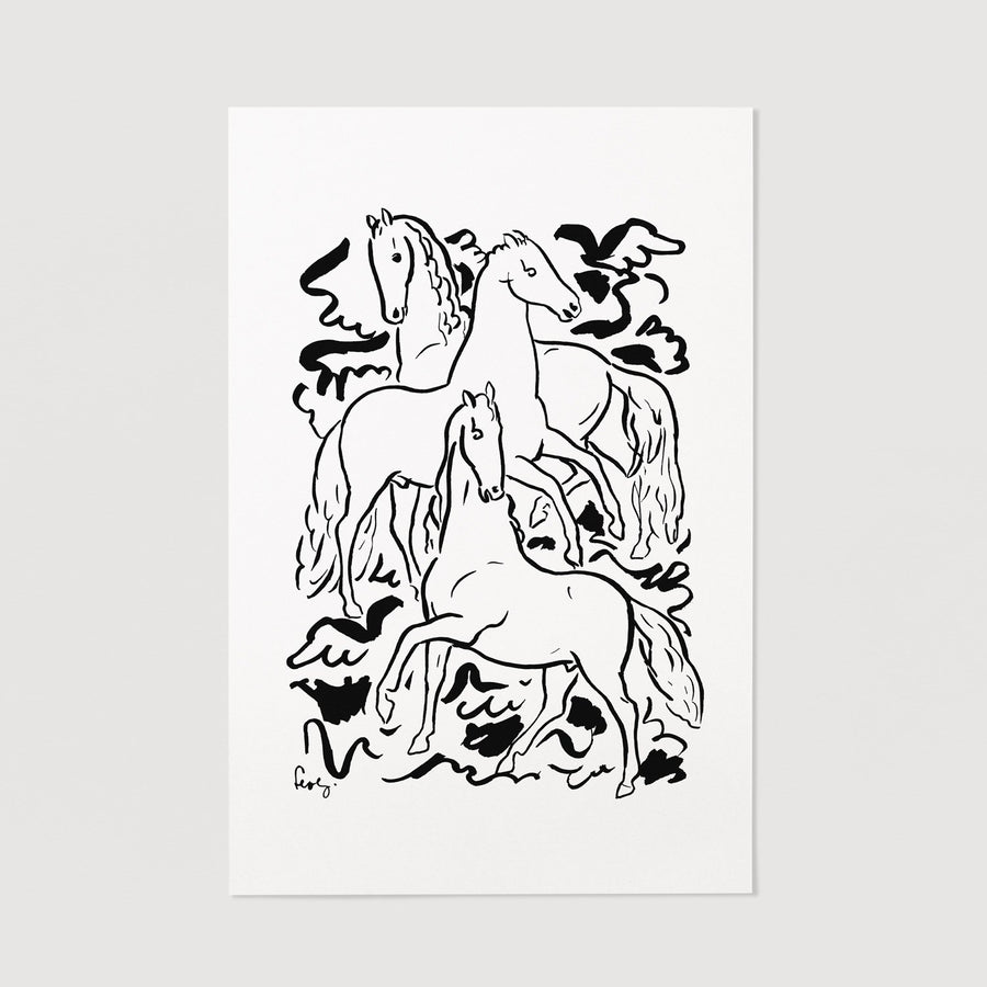 Horses illustration art print