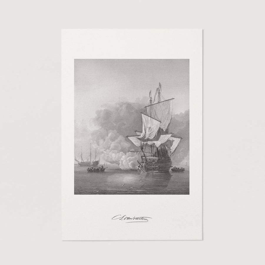 War ship black and white poster