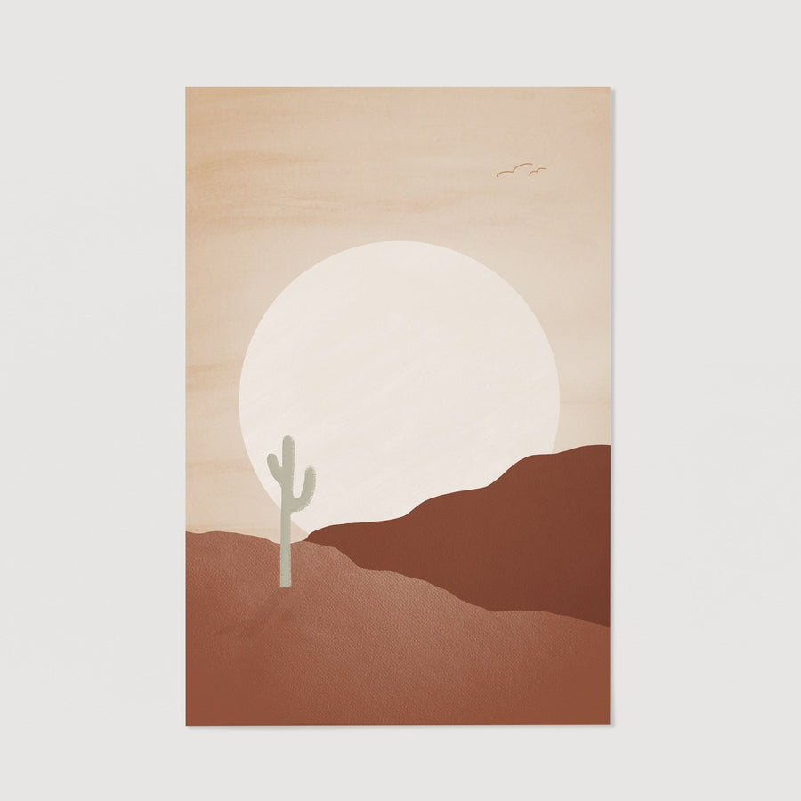 Large sunset in desert print