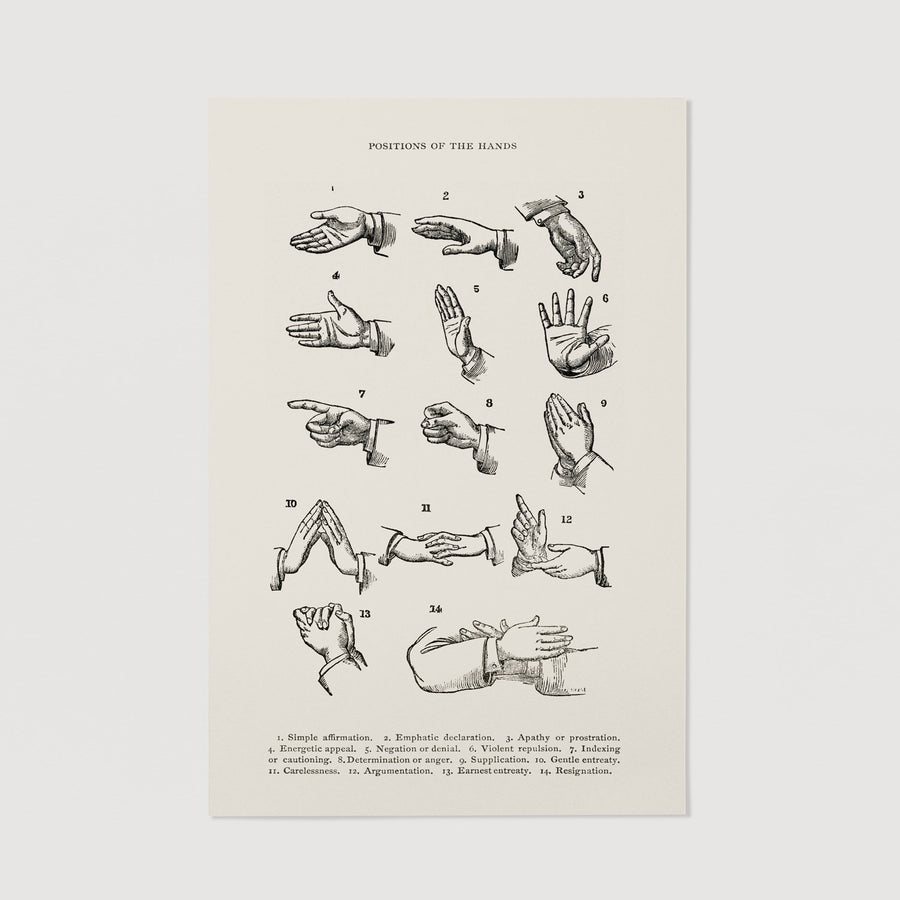 People hands vintage drawing print poster