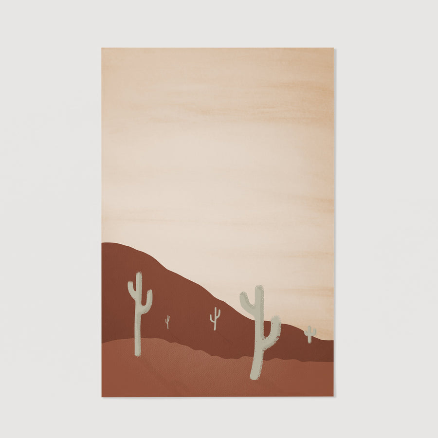 Cactus in desert painting poster