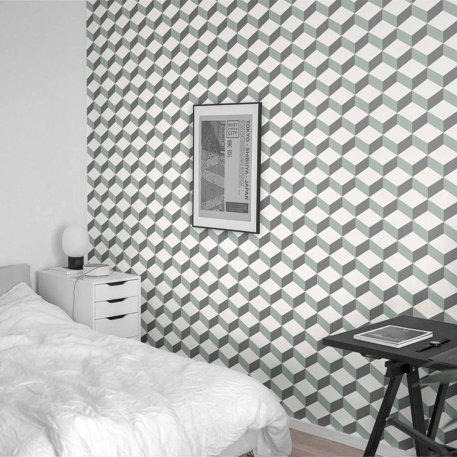 Green cube design removable wallpaper