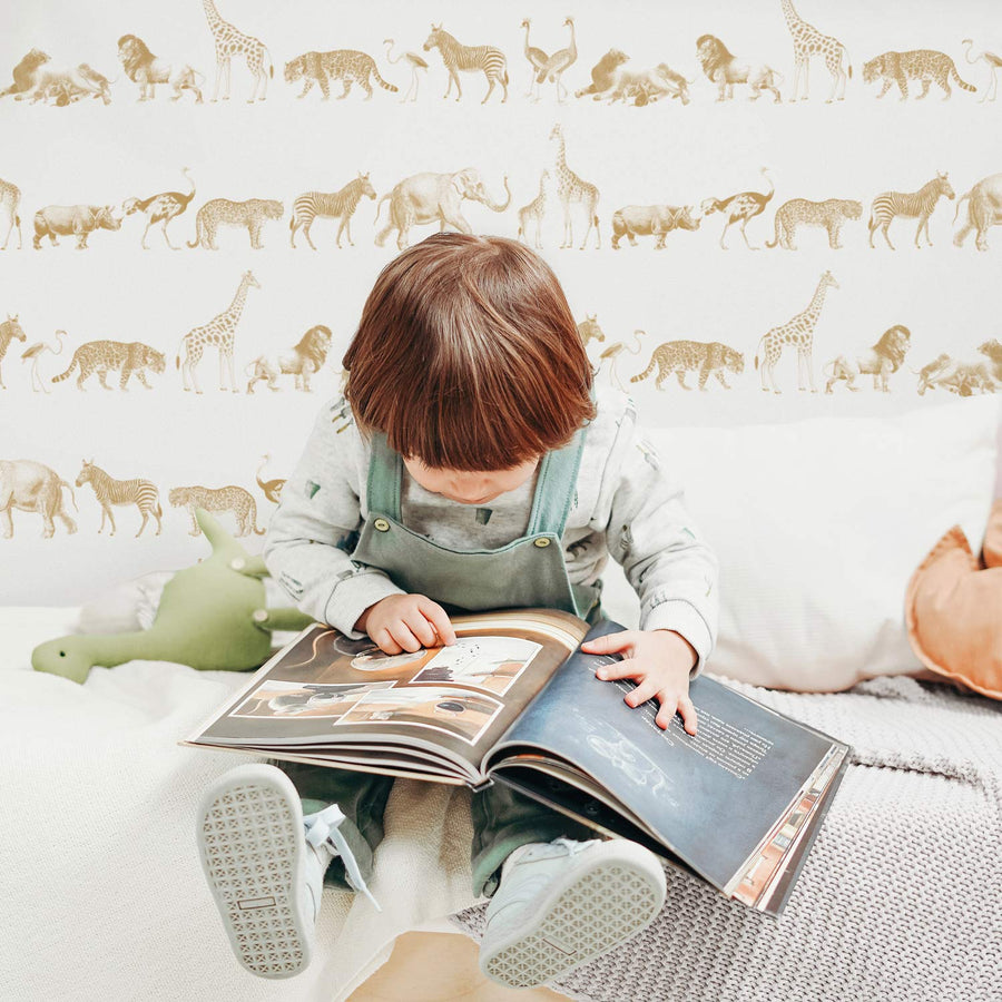 Vintage safari animal print removable wallpaper