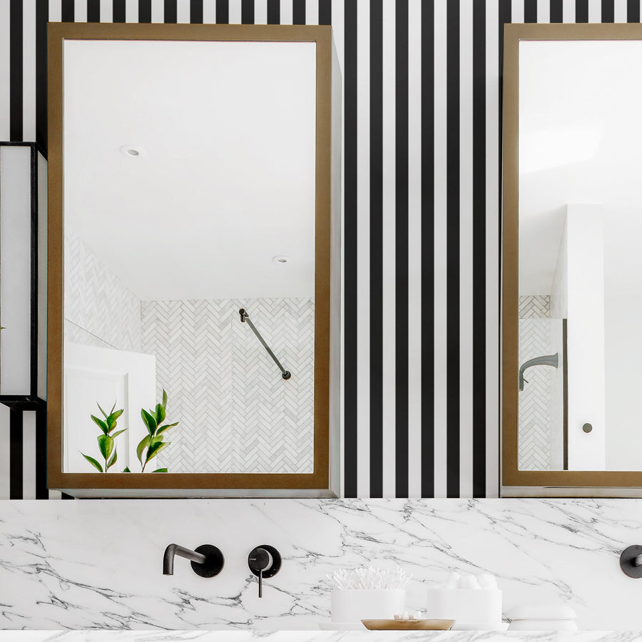 Vertical black and white stripes removable wallpaper in modern bathroom interior