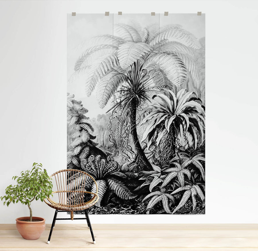 Minimal boho jungle wall mural in bright living room interior