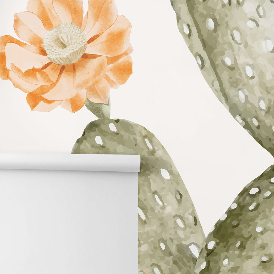 Floral cactus design removable wallpaper