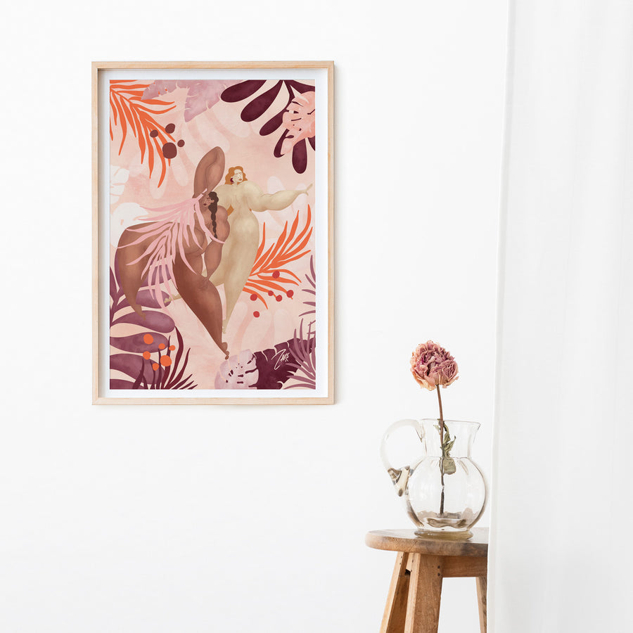 Blush pink nude female figure art print poster