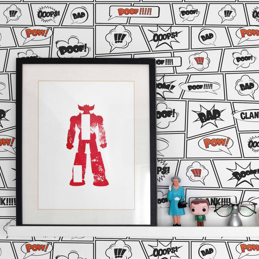 Comic book inspired removable wallpaper in Red color