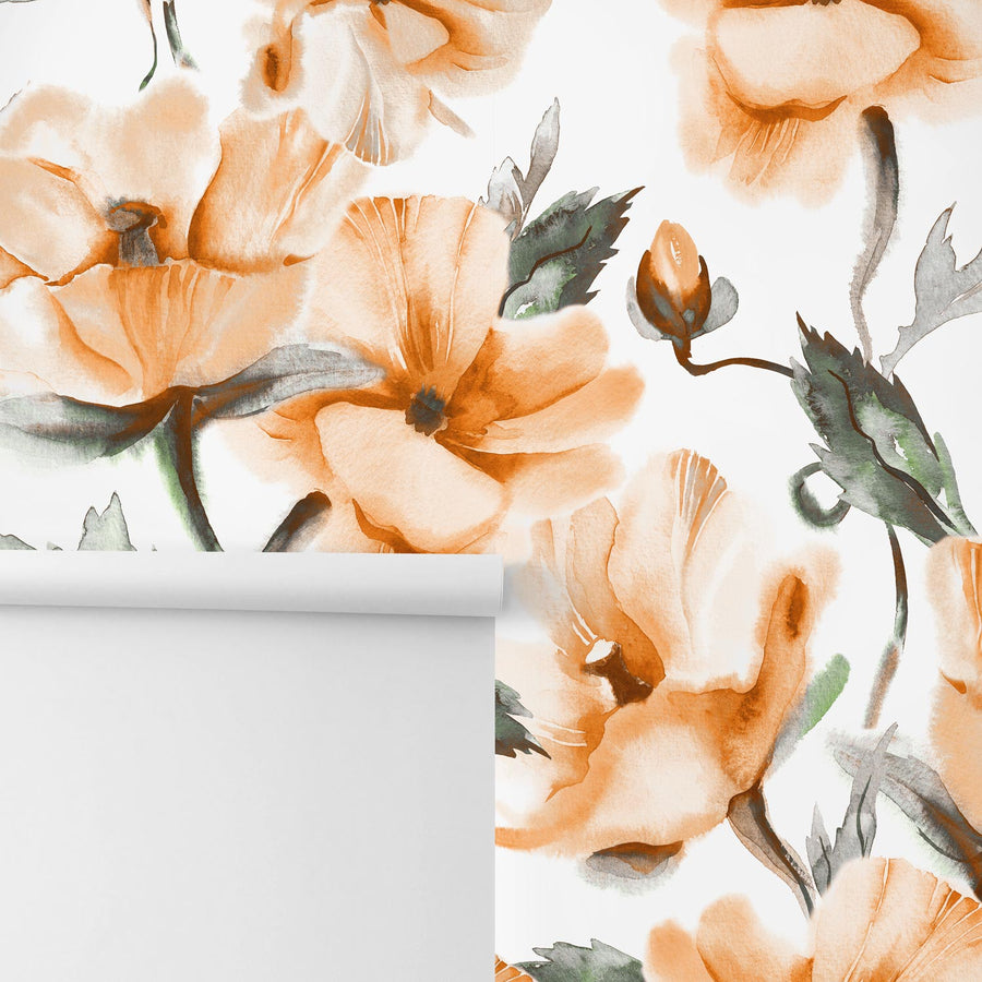 Soft floral design removable wall mural