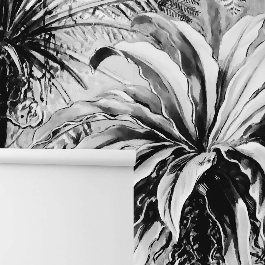Tropical garden wall mural in black and white