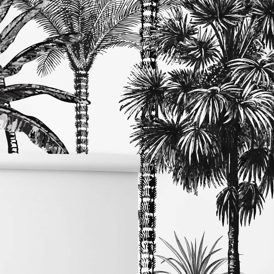 Exotic black and white tropical wallpaper