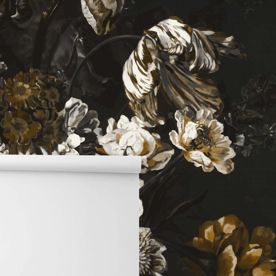 Removable wall mural with black, white and gold flower design