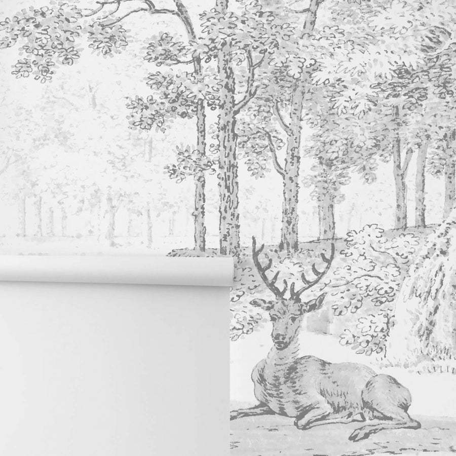 Grey forest removable wallpaper with deer, vintage flora and fauna wall decor
