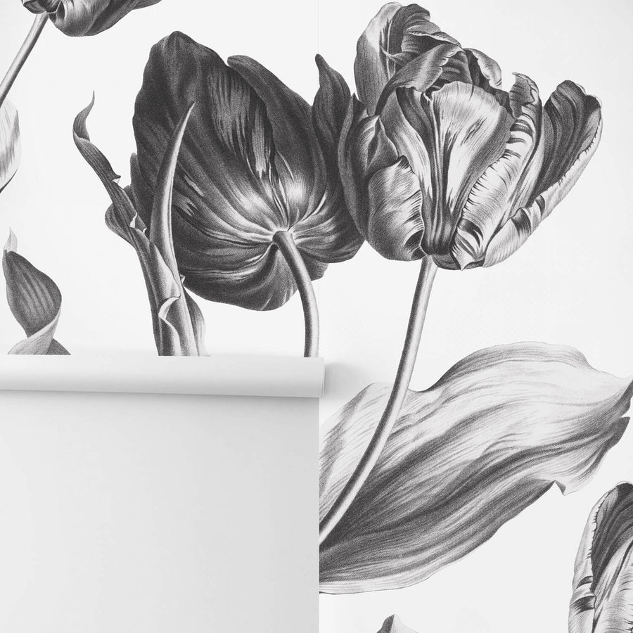 Grey floral removable wallpaper for scandi boho interiors