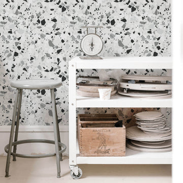 Grey Terrazzo removable wallpaper