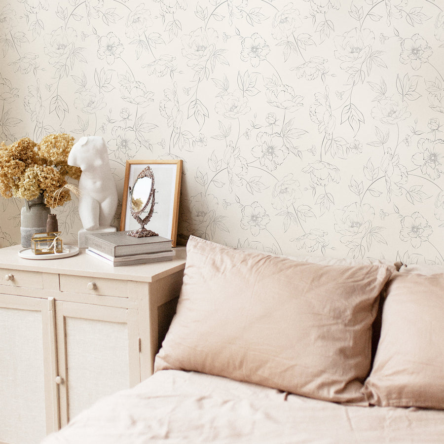 Subtle floral removable wallpaper