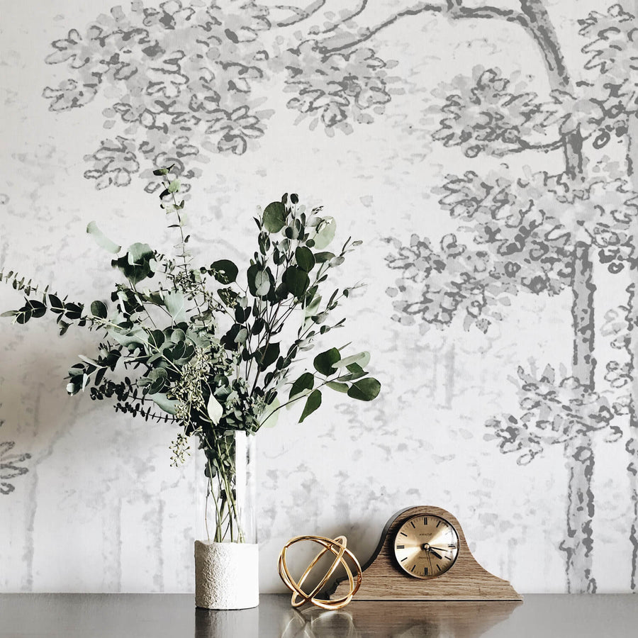 Grey woodland removable wallpaper for boho interiors