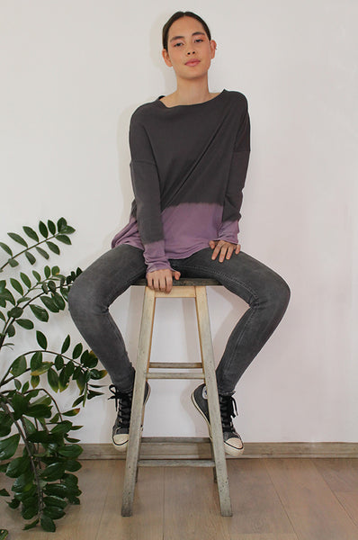 Hand-dyed Charcoal & Purple shirt
