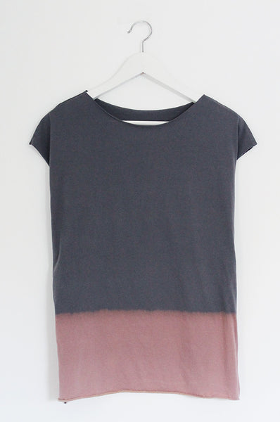 ONE Hand dyed steel grey T shirt
