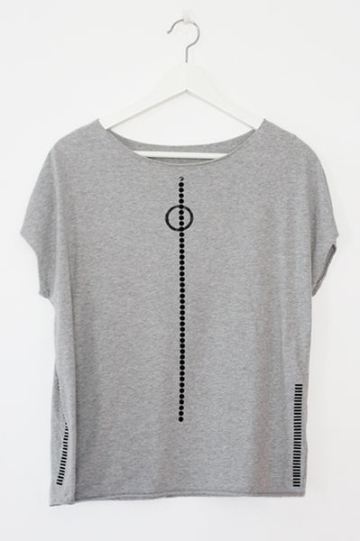Grey shirt with black stripes & dots
