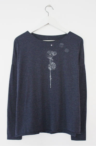 Dandelion printed Heather Blue shirt