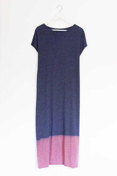 Hand dyed heather Blue maxi dress