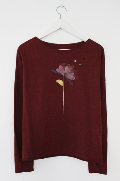 Flower printed Heather wine red shirt