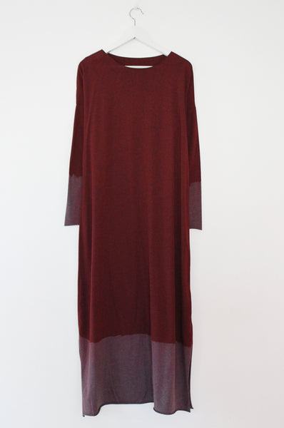 Hand dyed wine Red Maxi dress