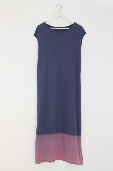 Hand dyed Blue maxi T dress