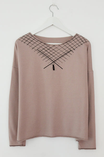 Powder pink sweat & diagonals print