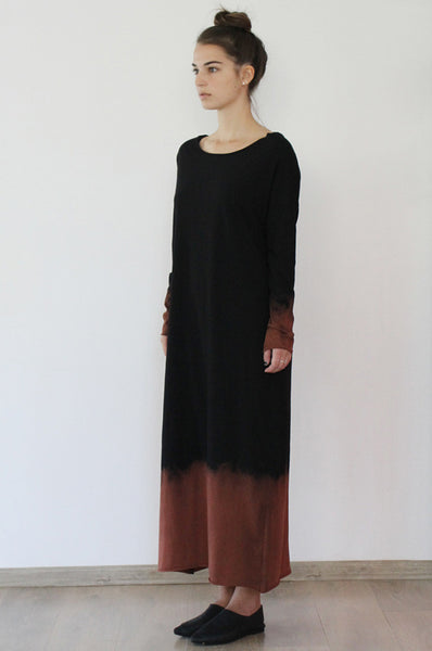 Hand dyed Black Maxi shirt dress