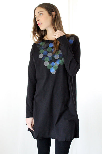Hand printed Circles shirt dress