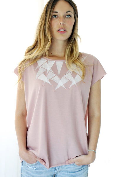 Triangles printed Powder pink shirt