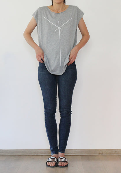 Heather Grey shirt with stripe print