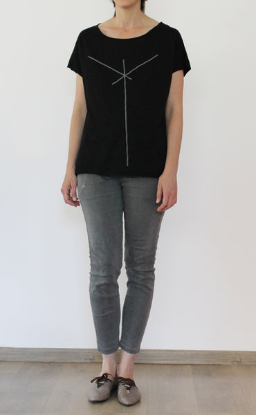 Black shirt with grey stiped print