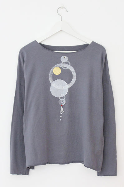 White circles printed Grey T-shirt