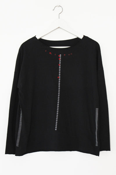 Black Tshirt with dots & stripes print