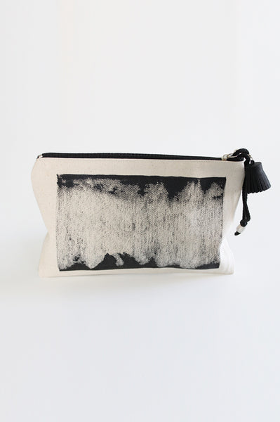 Hand-printed canvas zipper pouch