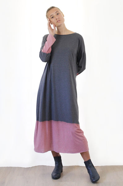 Charcoal Hand dyed  Maxi T dress