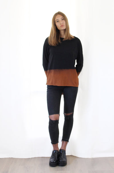 Hand dyed Black & Chestnut shirt
