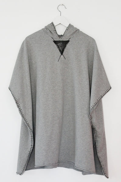 Grey Hooded poncho Sweatshirt