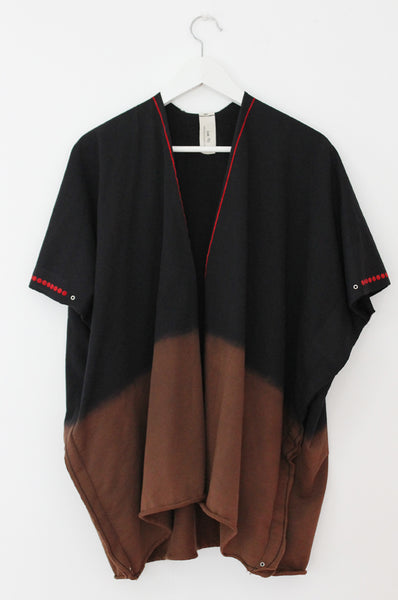 Black open throw on sweatshirt