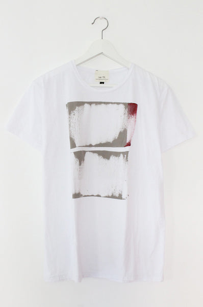 White men's T with abstract Print