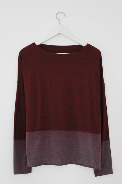 Hand dyed wine heather Red shirt