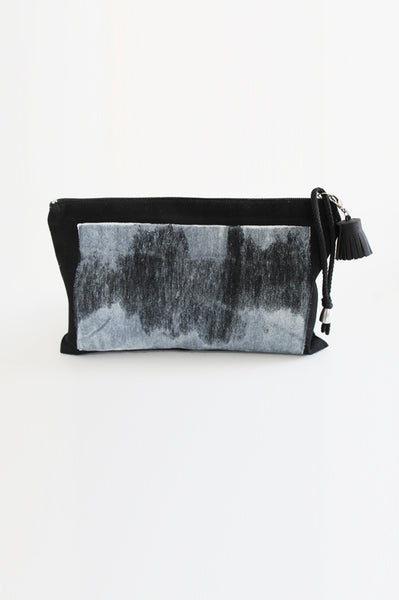 Hand- printed Black canvas pouch